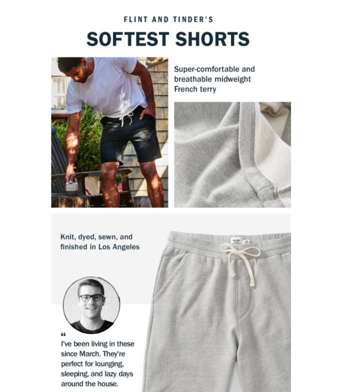 Huckberry promoting their new work from home shorts, featuring their co-founder's quote.