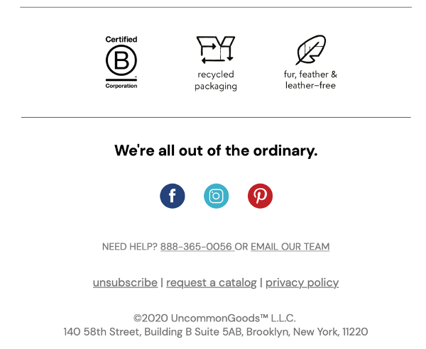 Email footer reminding the audience about the brand's core values.