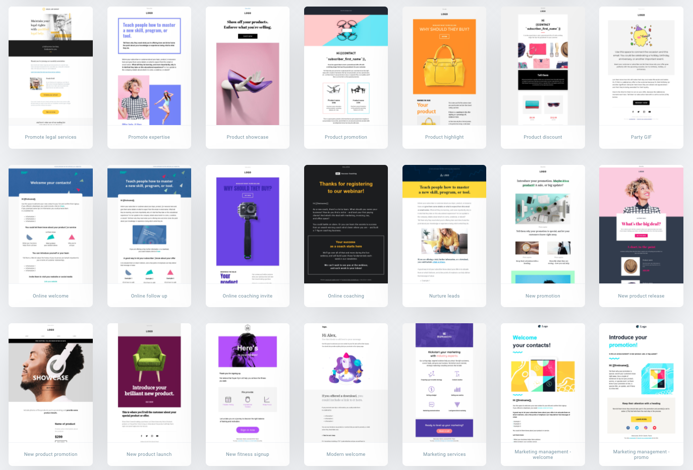 GetResponse's email marketing template library filled with free email templates.