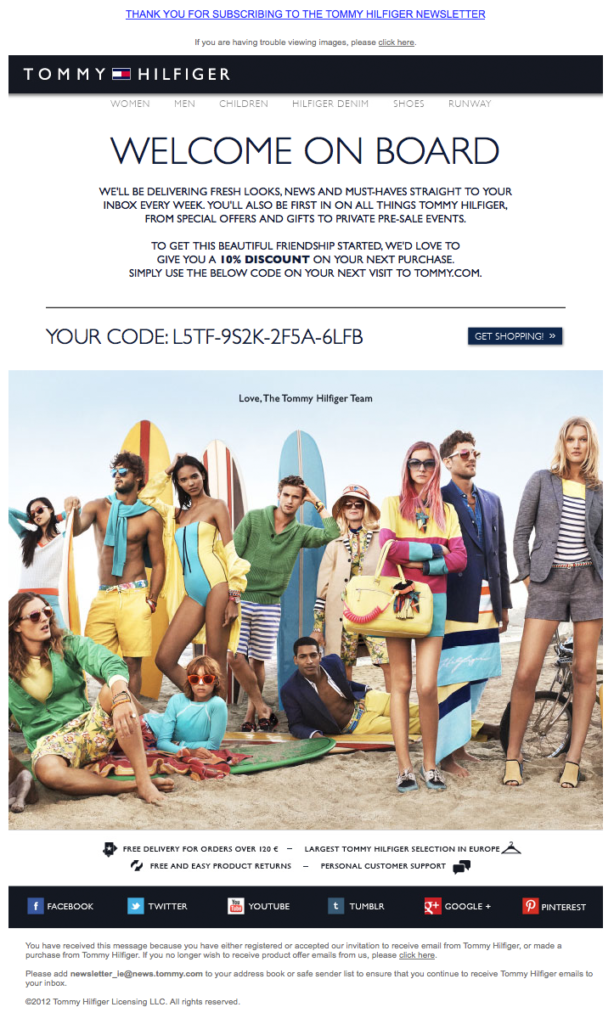 Tommy Hilfiger automated welcome email.