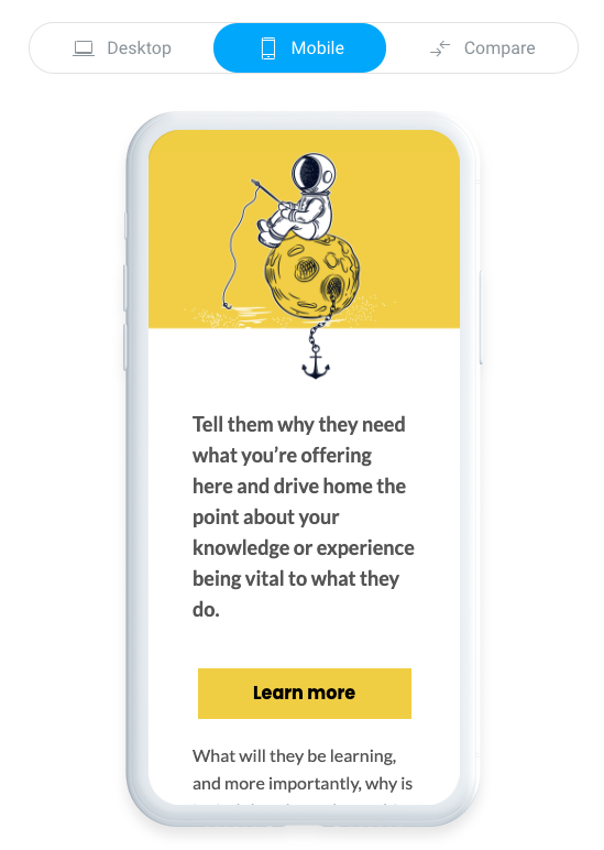 Example of a mobile-responsive email template created in GetResponse.