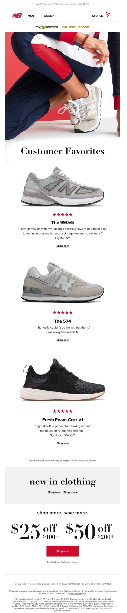 New balance doing a great job with their marketing emailing. The newsletter features customer reviews, big bold photos, and one clear call to action button.