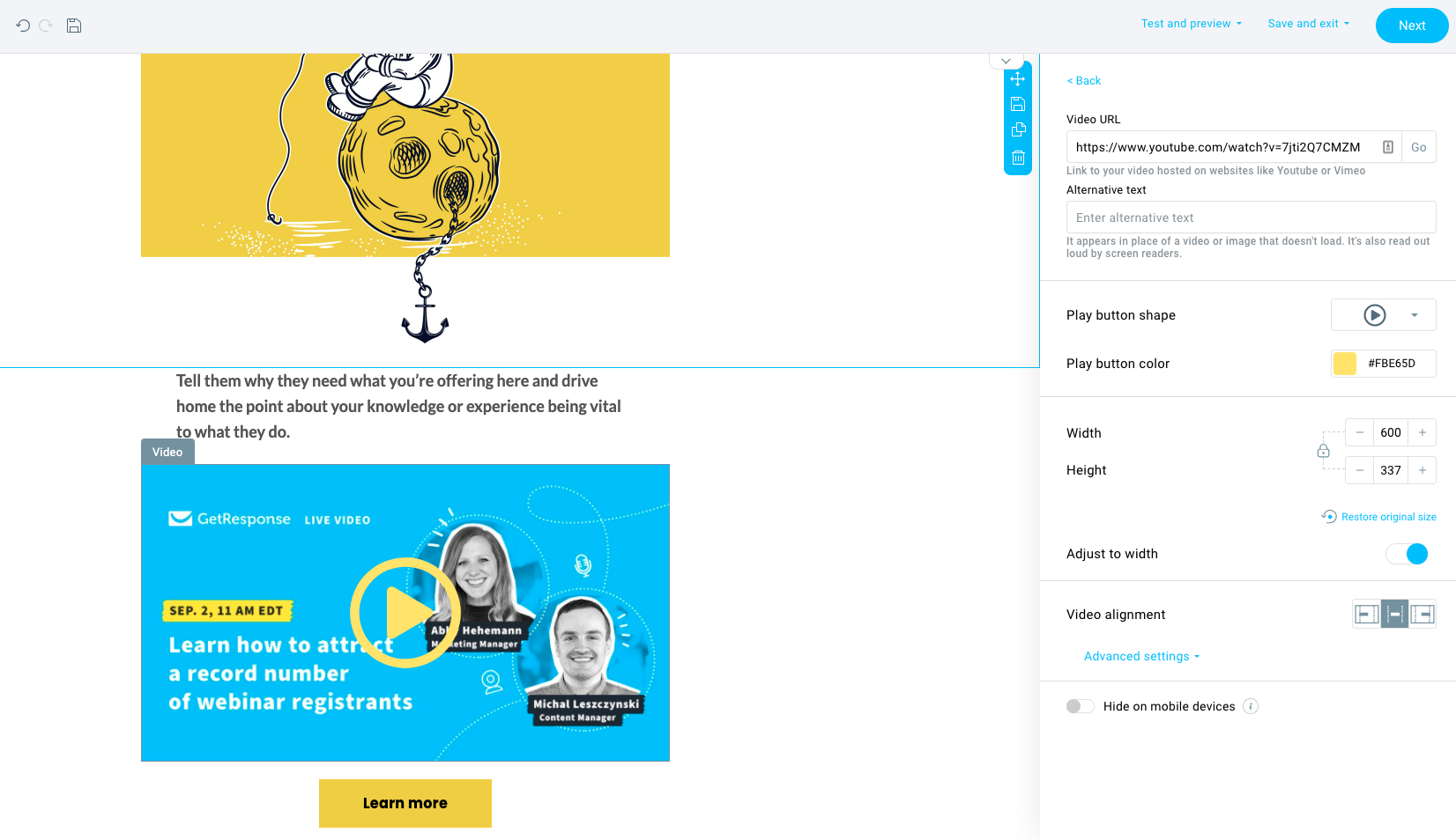 Adding video to email in GetResponse.