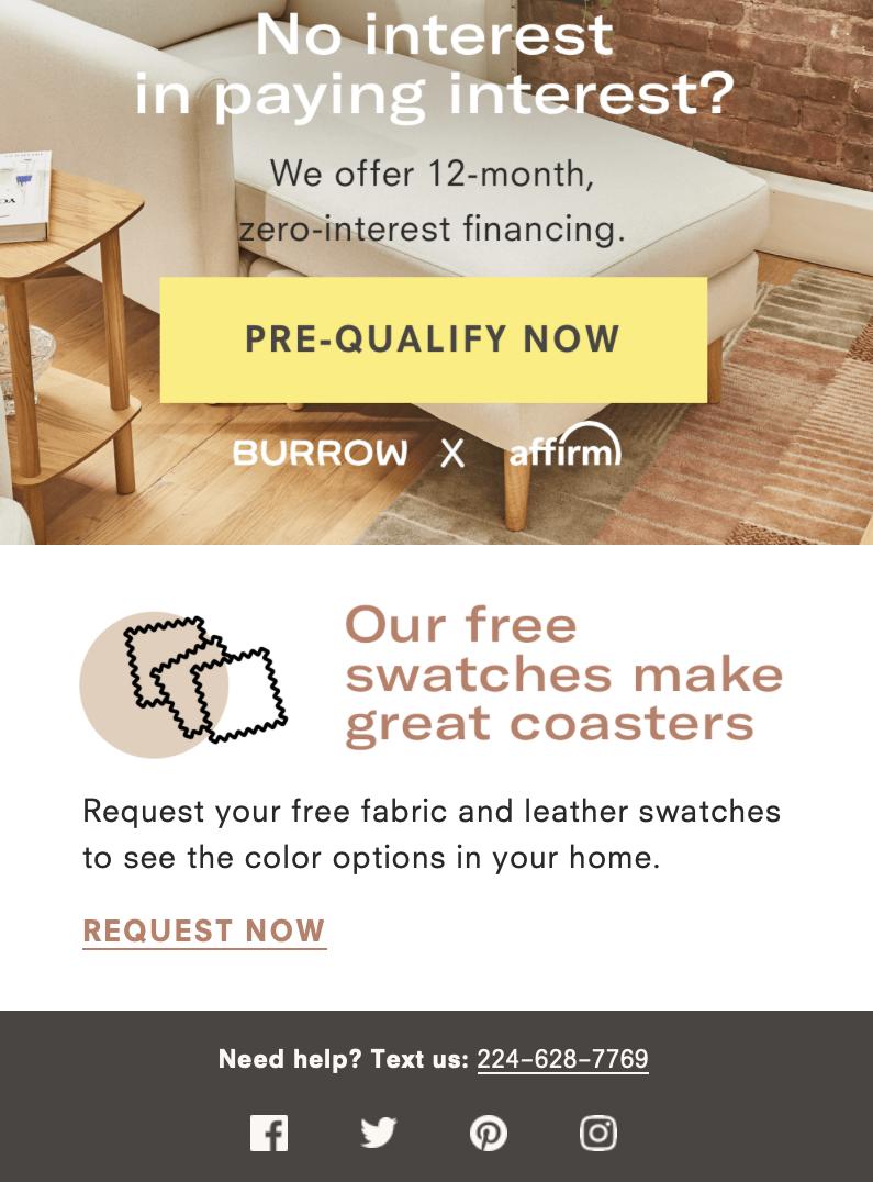 Exemple de courrier électronique de bienvenue de Burrow - quatrième partie ajoutant un moyen d'achat plus simple et moins cher.