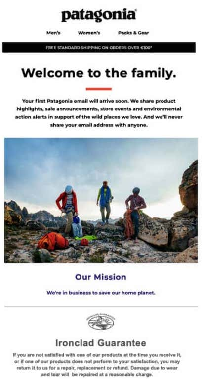 Welcome email from Patagonia.