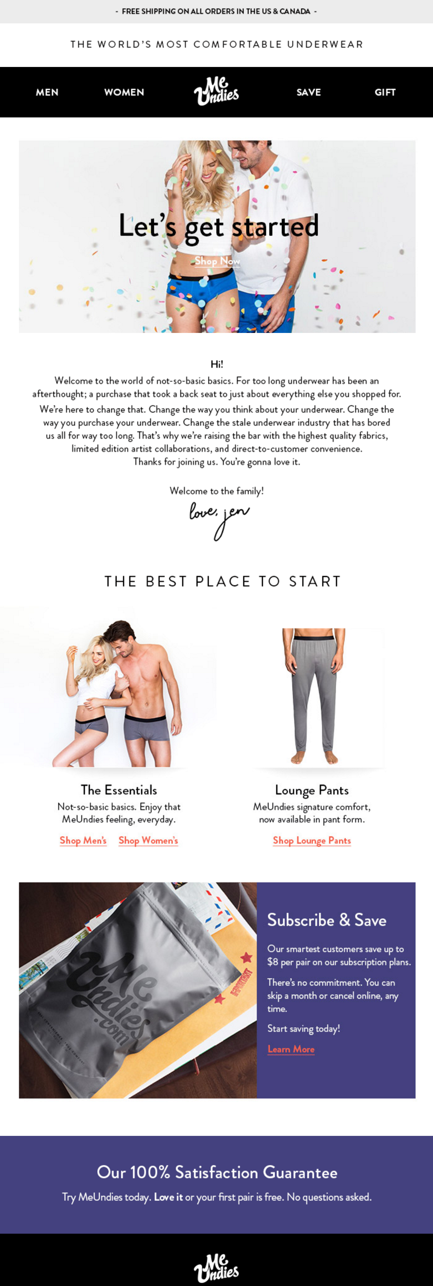 Email welcoming new subscribers - MeUndies.
