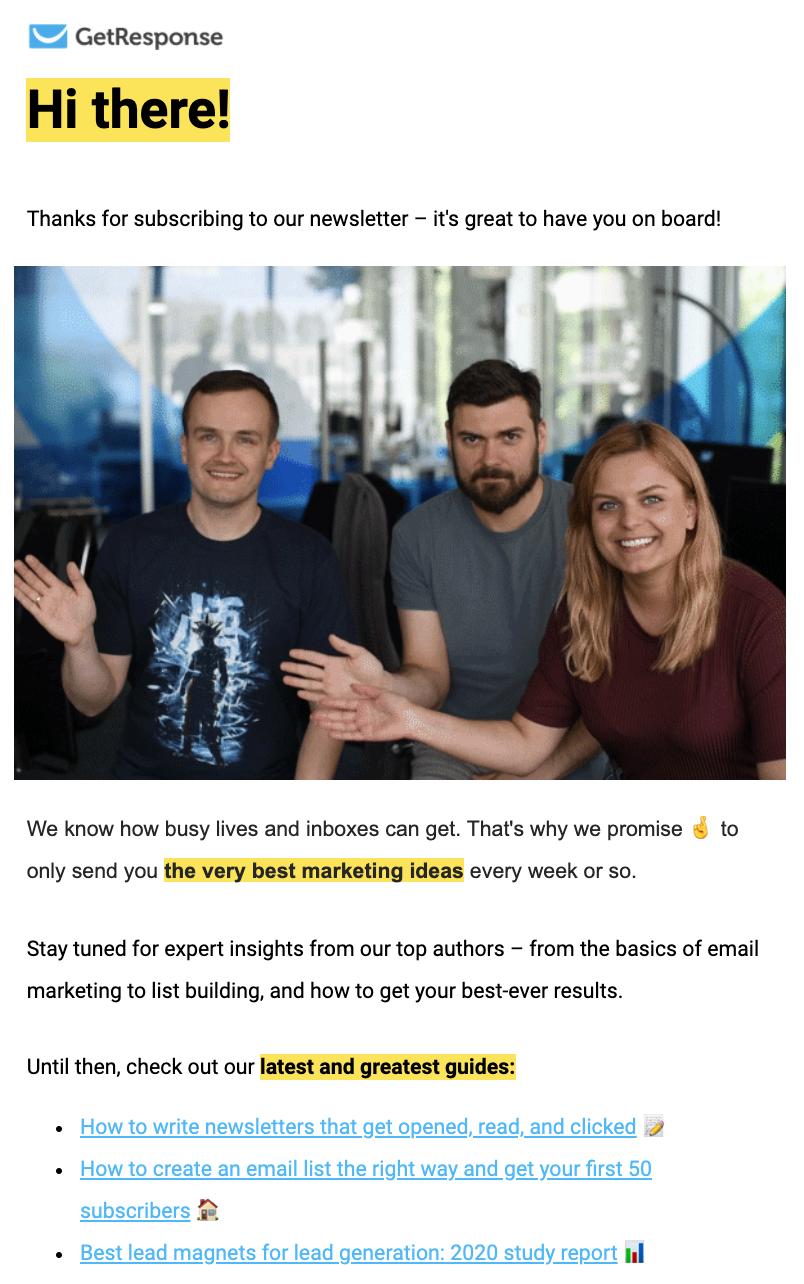 E-mail de bienvenue du blog GetResponse.