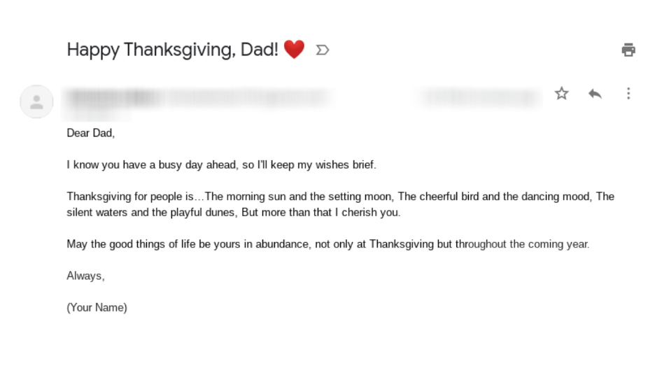 Thanksgiving email template featuring a heart emoji for your dad or other immediate family member.