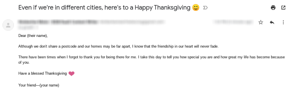 A thanksgiving email template you can use to contact your friends.