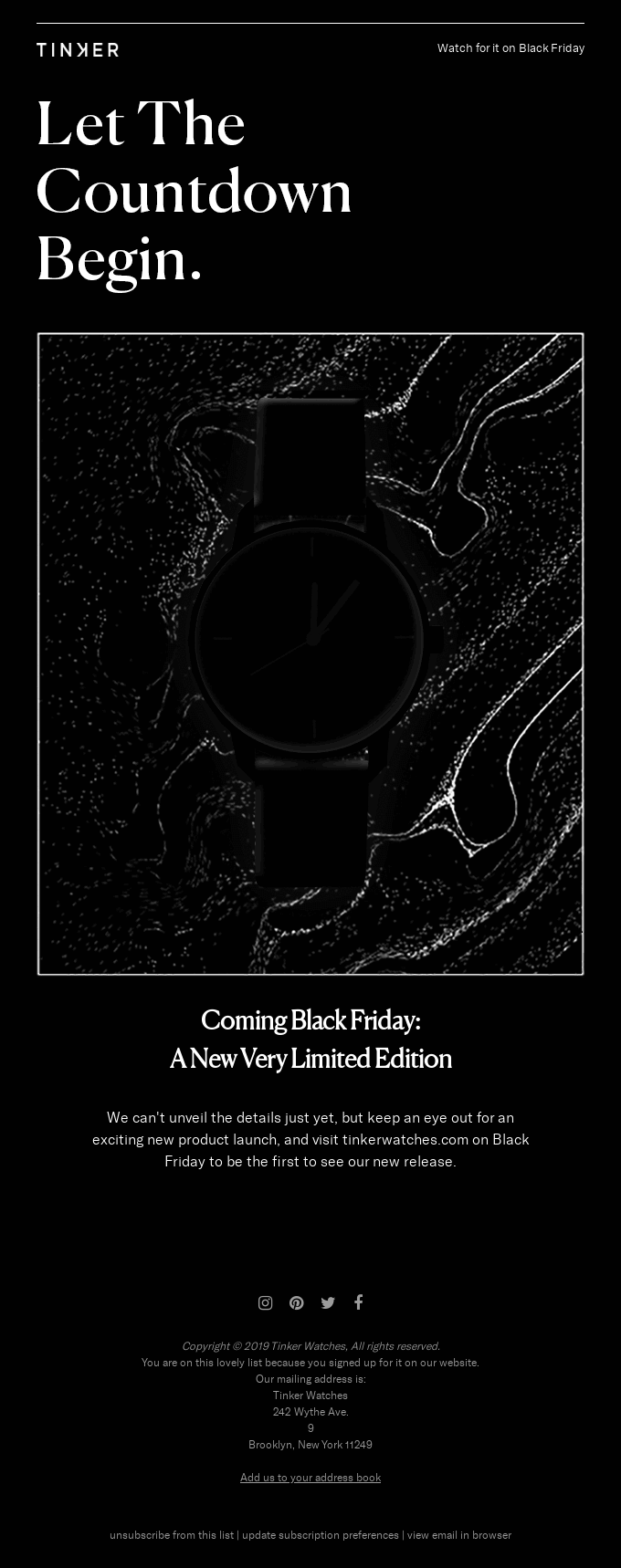 A screenshot of a Black Friday email example from Tinker Watches.