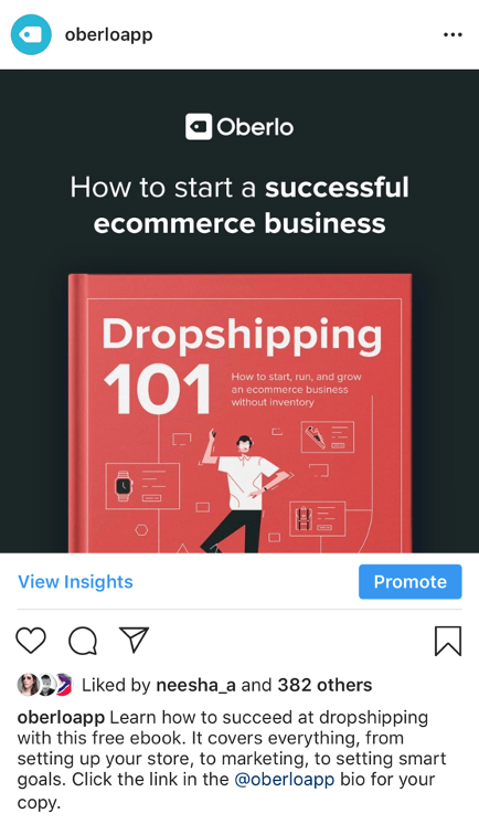 Example of an Instagram post promoting a marketing ebook from Oberlo.