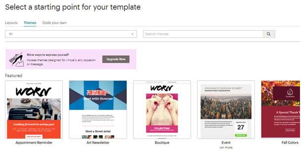коллекция email шаблонов в Mailchimp