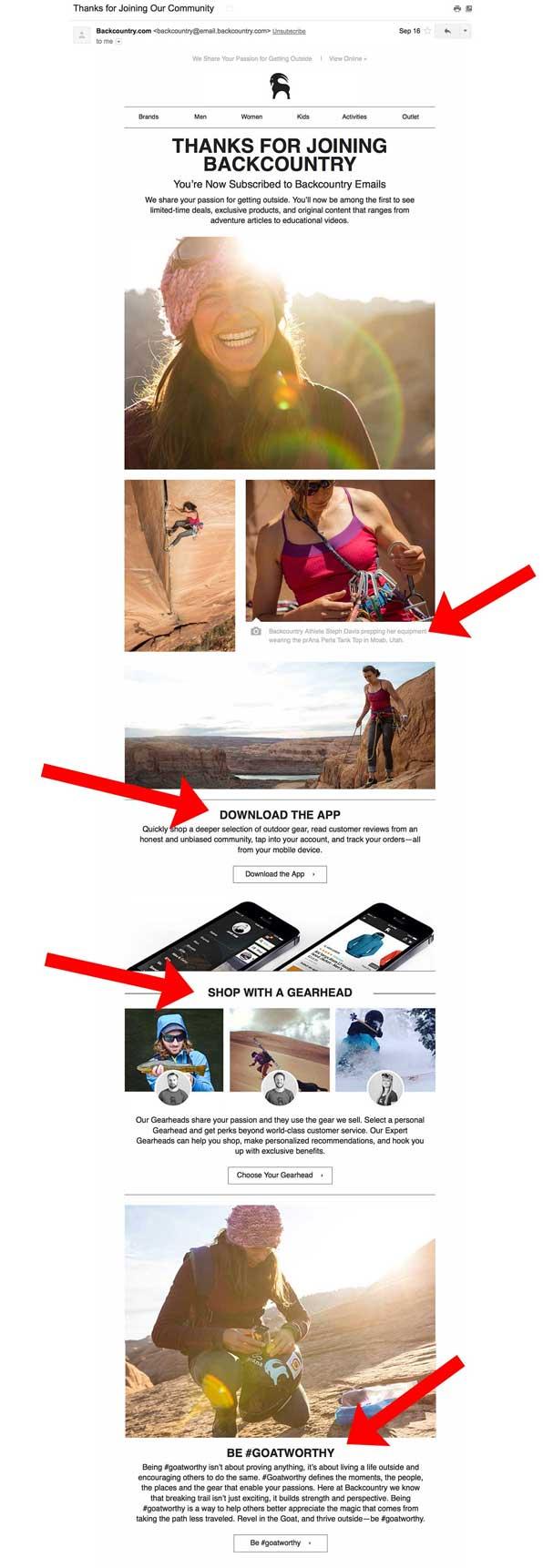 улыбающаяся девушка, кадры альпинистов в снаряжении и спортсменов в дикой местности
