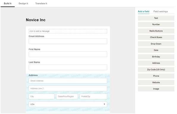 конструктор формы регистрации в Mailchimp