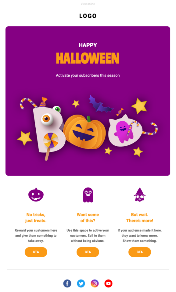 Halloween newsletter template featuring purple background, pumpkin-orange call to action buttons, and spooky images.