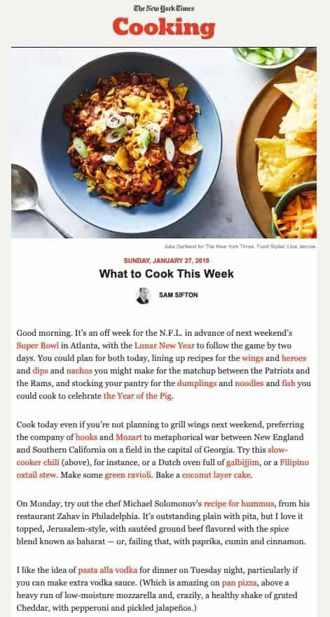 Пример рассылки Нью Йорк Таймс с фотографией блюда и рецептами приготовления