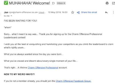 очень простое емейл письмо от Charm Offensive без картинок и иллюстраций
