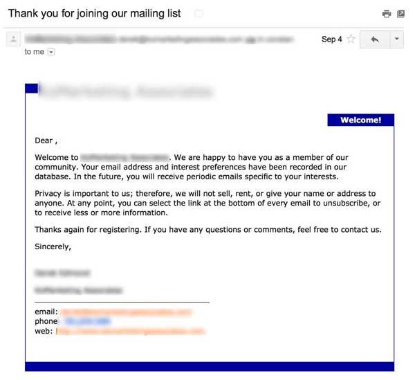 шаблонное welcome-письмо даже без указания имени подписчика