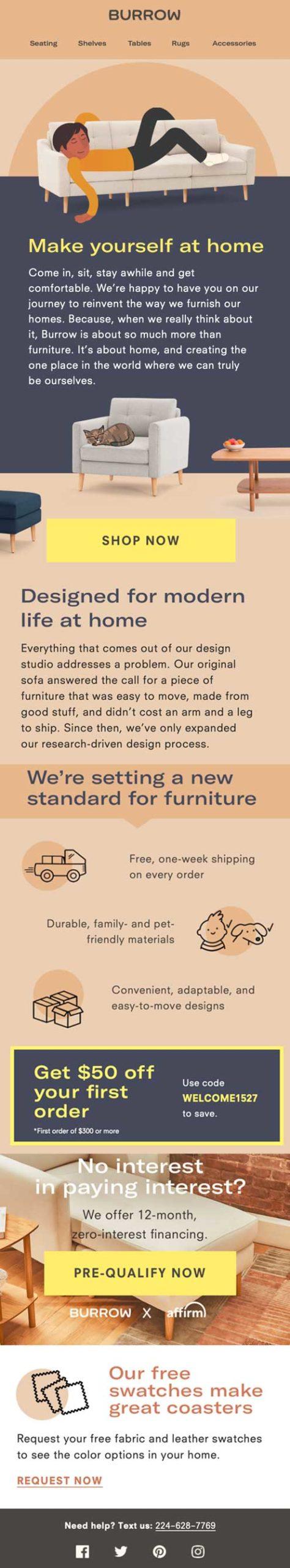 приветственная емейл рассылка от бренда Burrow с иллюстрацией спящего мужчины и мебели бренда