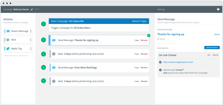 Campaigns tool in AWeber.