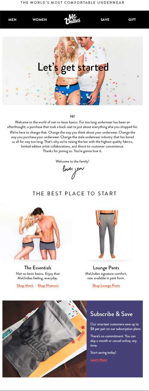 Молодая блонд девушка и молодой парень атлетического сложения рекламирующие  нижнее женское и мужское белье бренда MeUndies