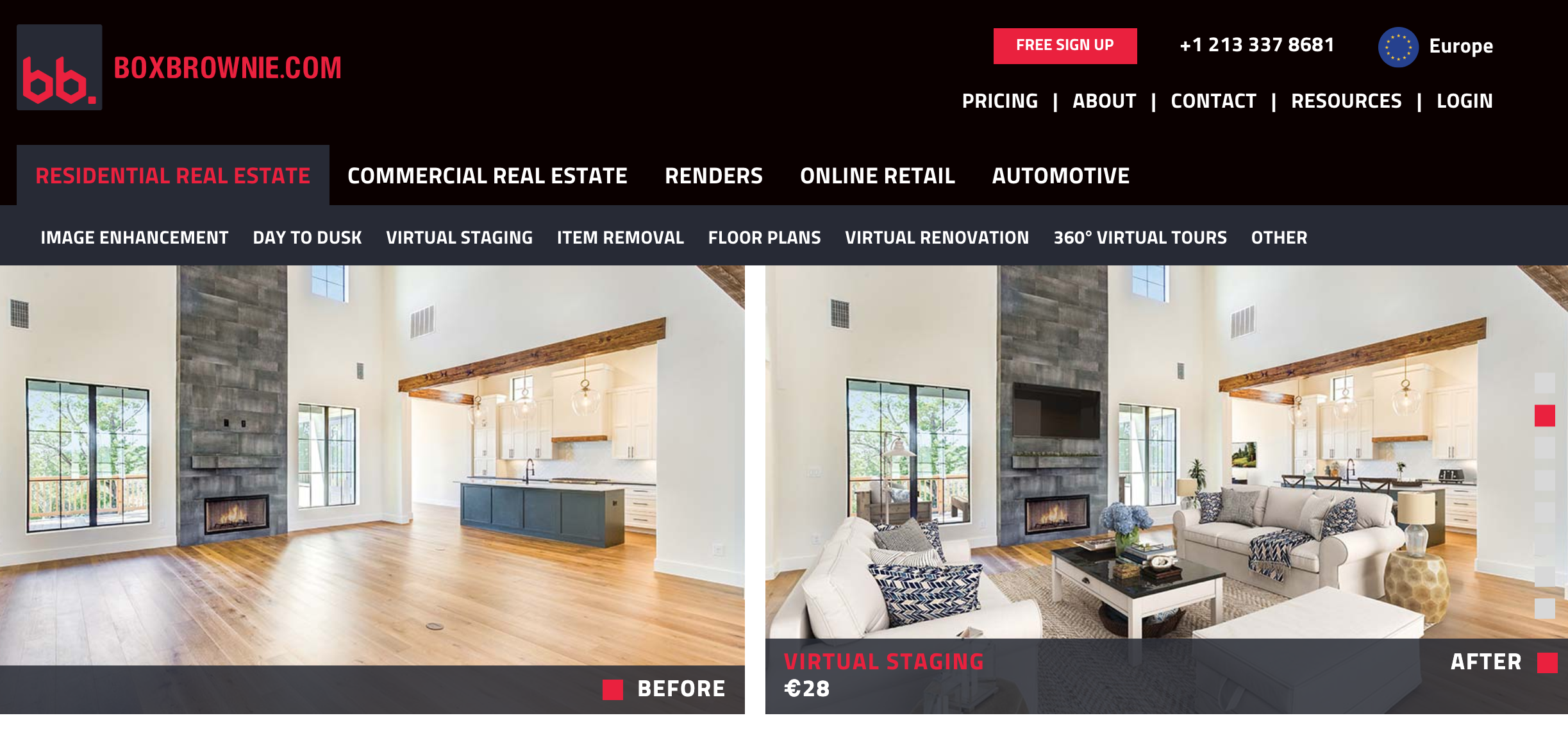 Screenshot of BoxBrownie's website.