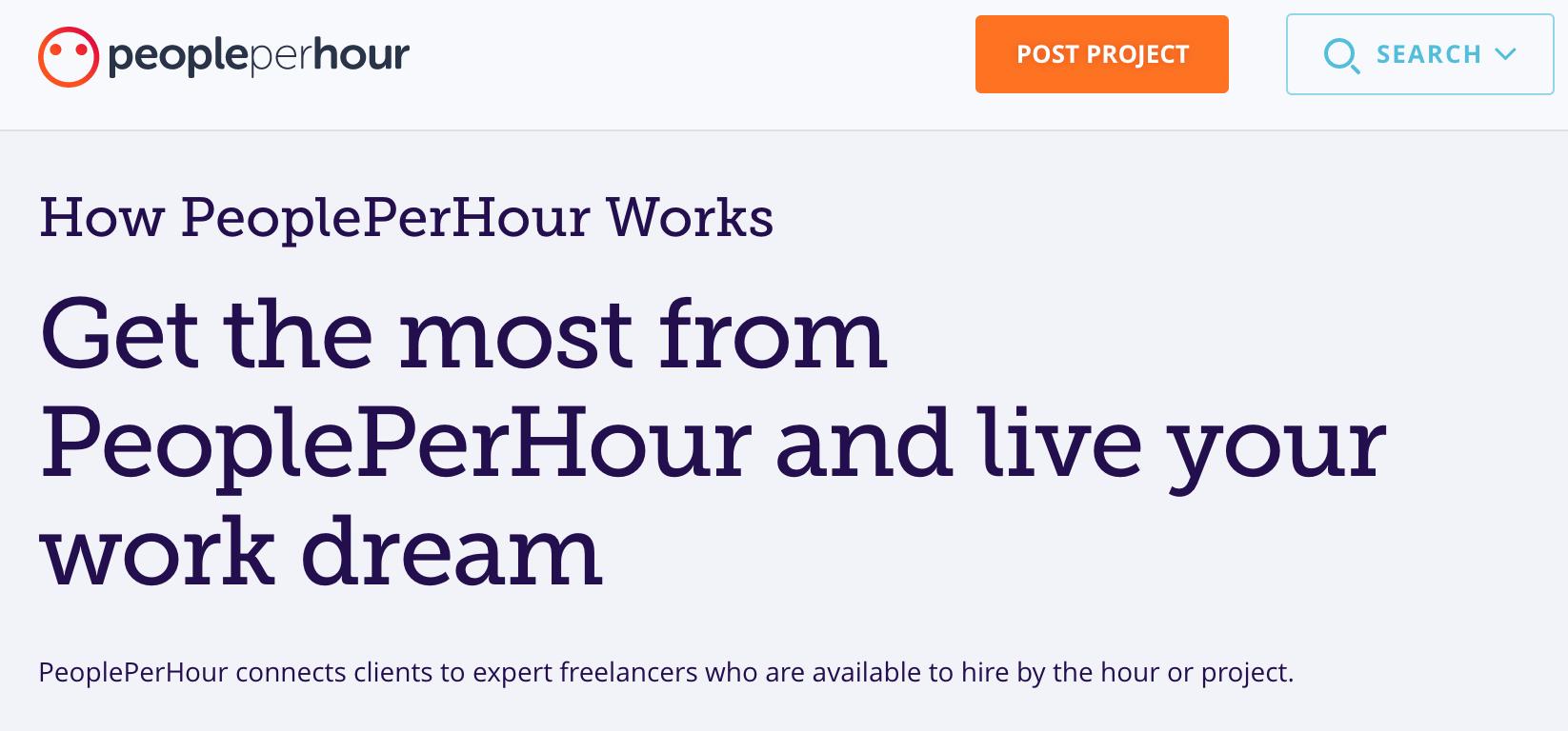 Screenshot of PeoplePerHour's website.