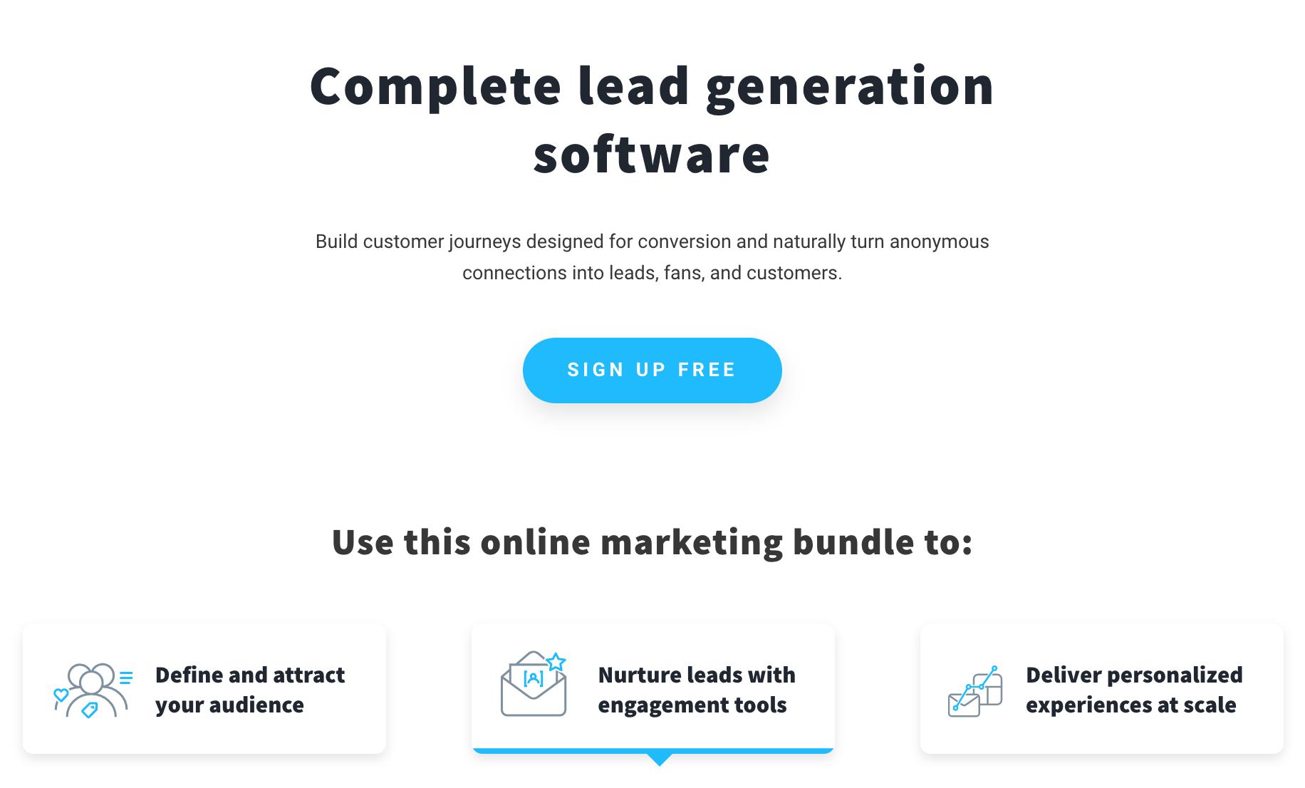 Screenshot of GetResponse website.