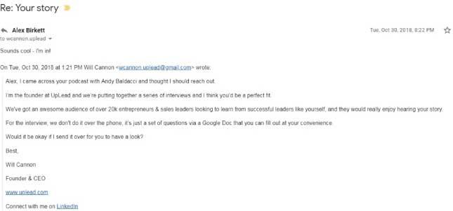 Письмо, отправленное вслепую инфлюенсерам, с просьбой поучаствовать в интервью.