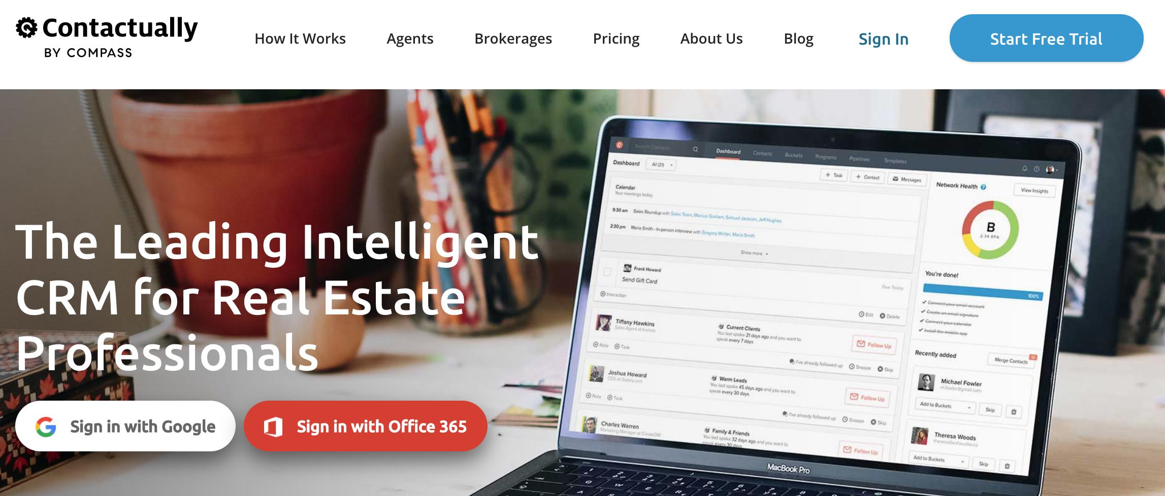 Screenshot of Contactually's website.