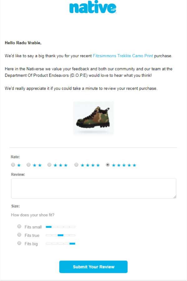 Письмо  Native, которое пользователь получает после покупки.