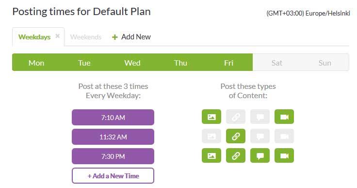 Вид планировщика Post Planner с учетом индивидуального времени для размещения постов