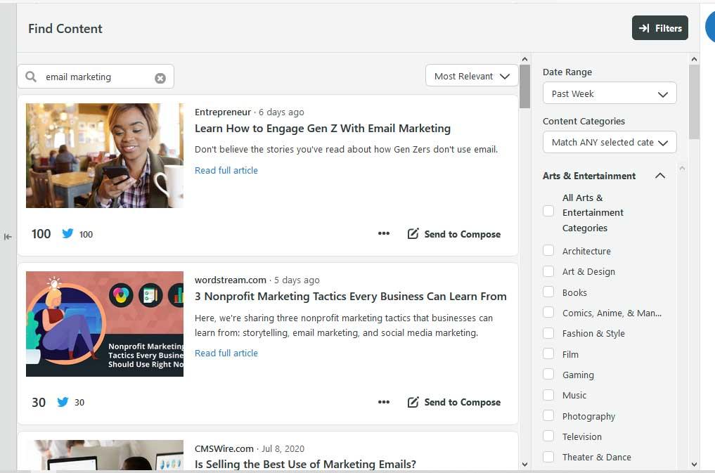 Интерфейс планировщика Social Sprout с учетом постов и отрасли