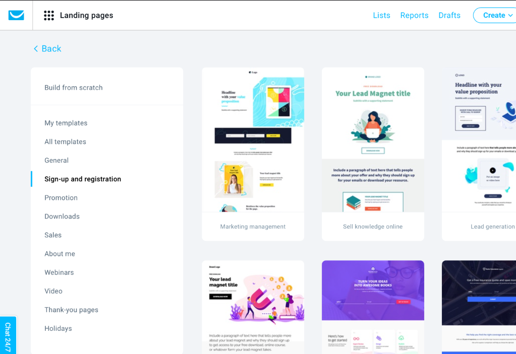 GetResponse landing page template library.