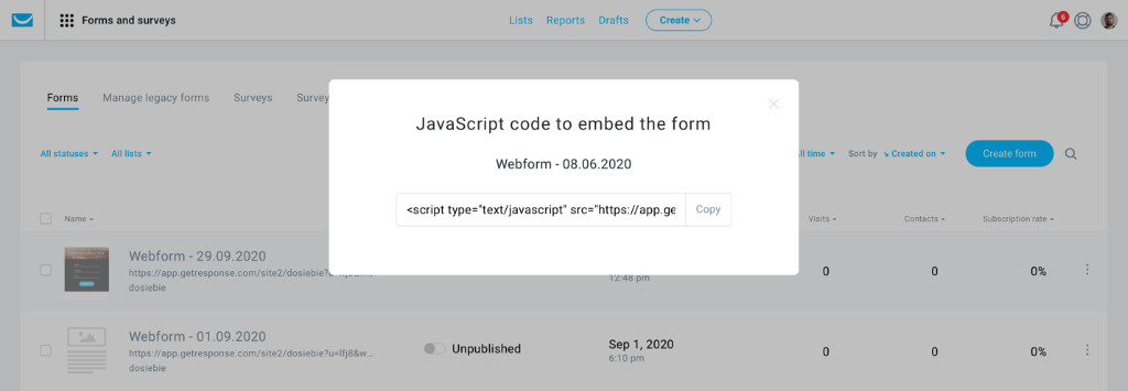 A screenshot of a generated JavaScript code to embed a signup form on your website.
