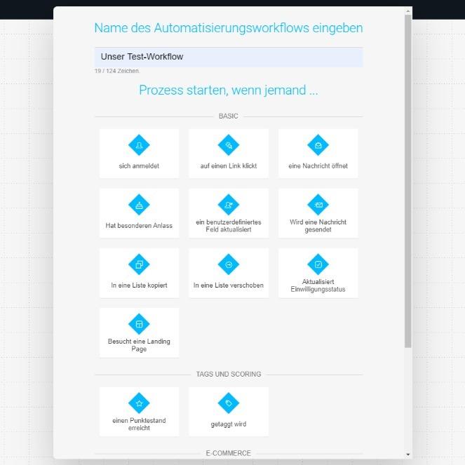 Unser automatisierter Prozess soll beginnen, wenn sich ein Besucher unserer Landing Page für den Newsletter anmeldet