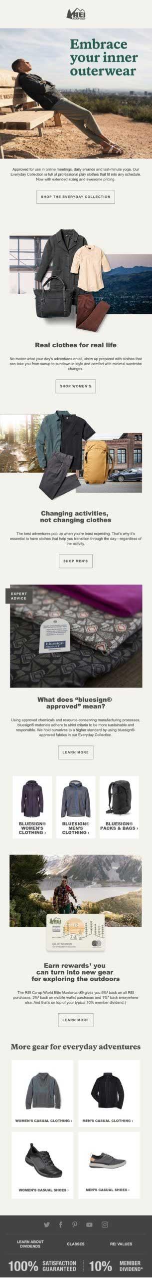 Рекламная рассылка от интернет-магазина REI с демонстрацией мужской одежды