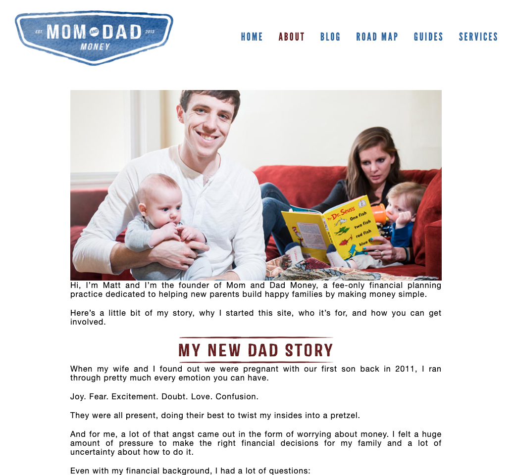 """Image shows mom and dad's website with the history of their brand and the content they offer. """"Class ="""" wp-image-14906"""