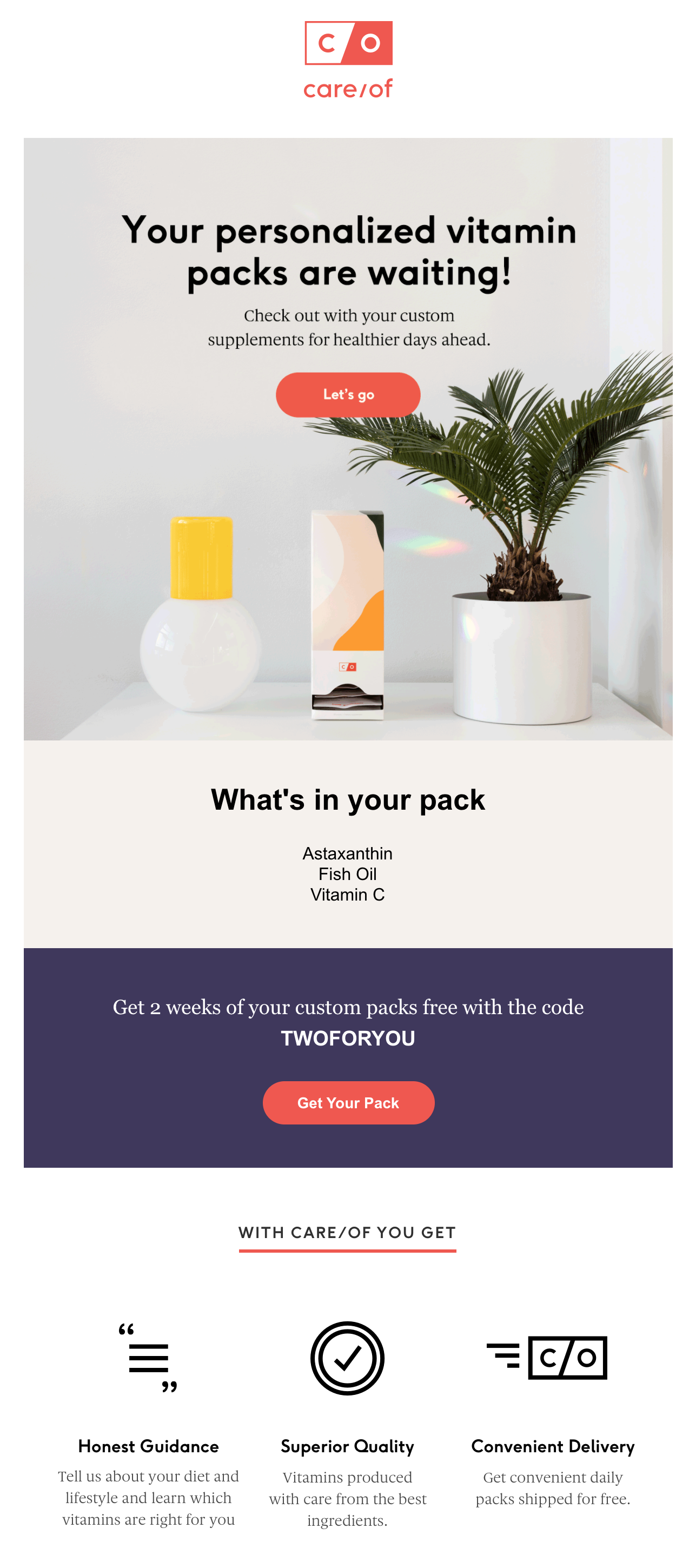 Screenshot of a welcome email with a welcome gift.