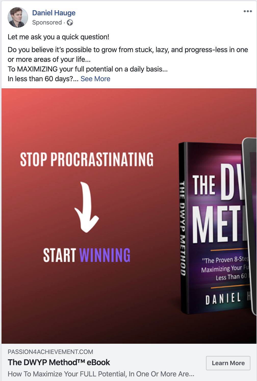 Example of a Facebook lead ads campaign promoting an ebook.