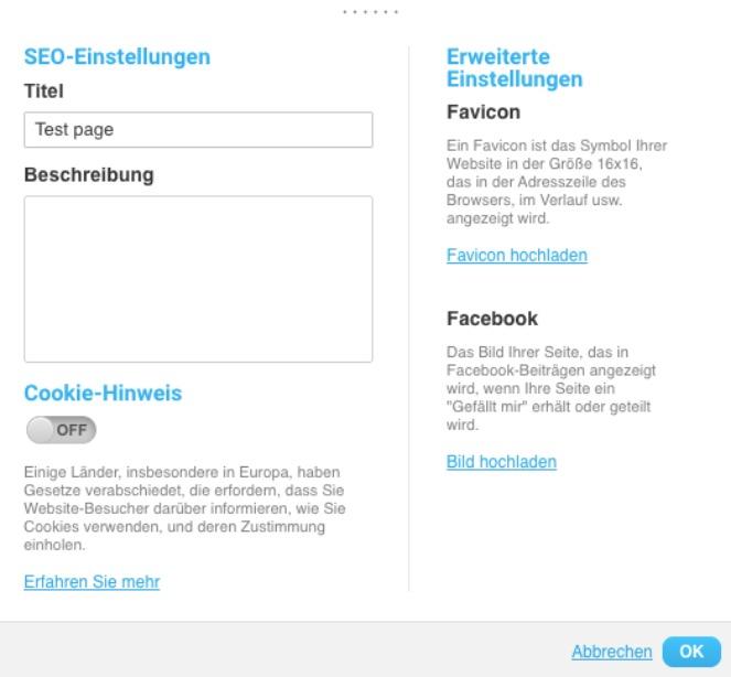 SEO-Titel, die Beschreibung deiner Landing Page sowie das Favicon deiner Seite eintragen