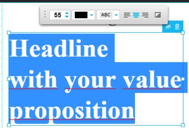 Ändere die Schriftgröße im Landing Page-Editor von GetResponse