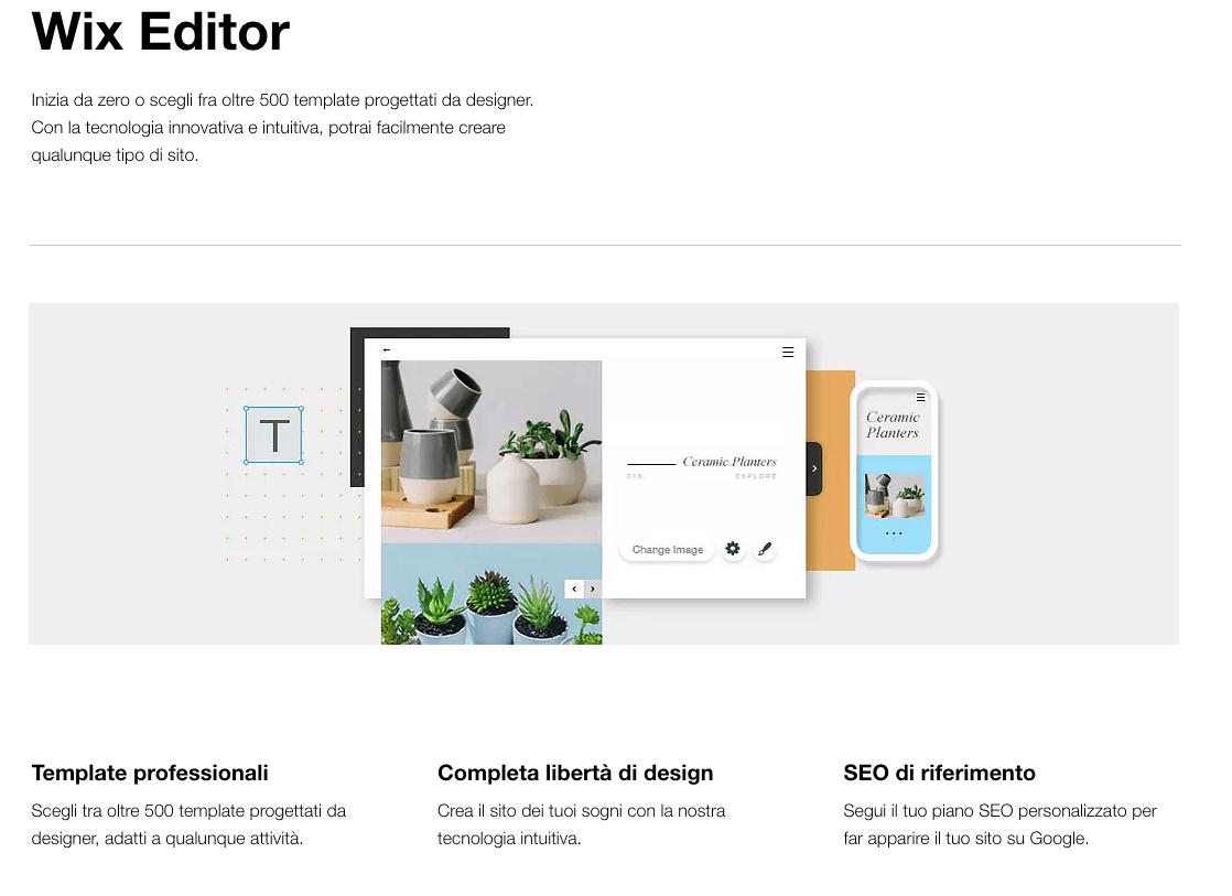 Wix editor landing page