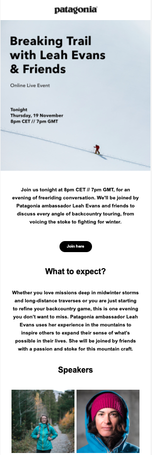 Scannable email newsletter from Patagonia.