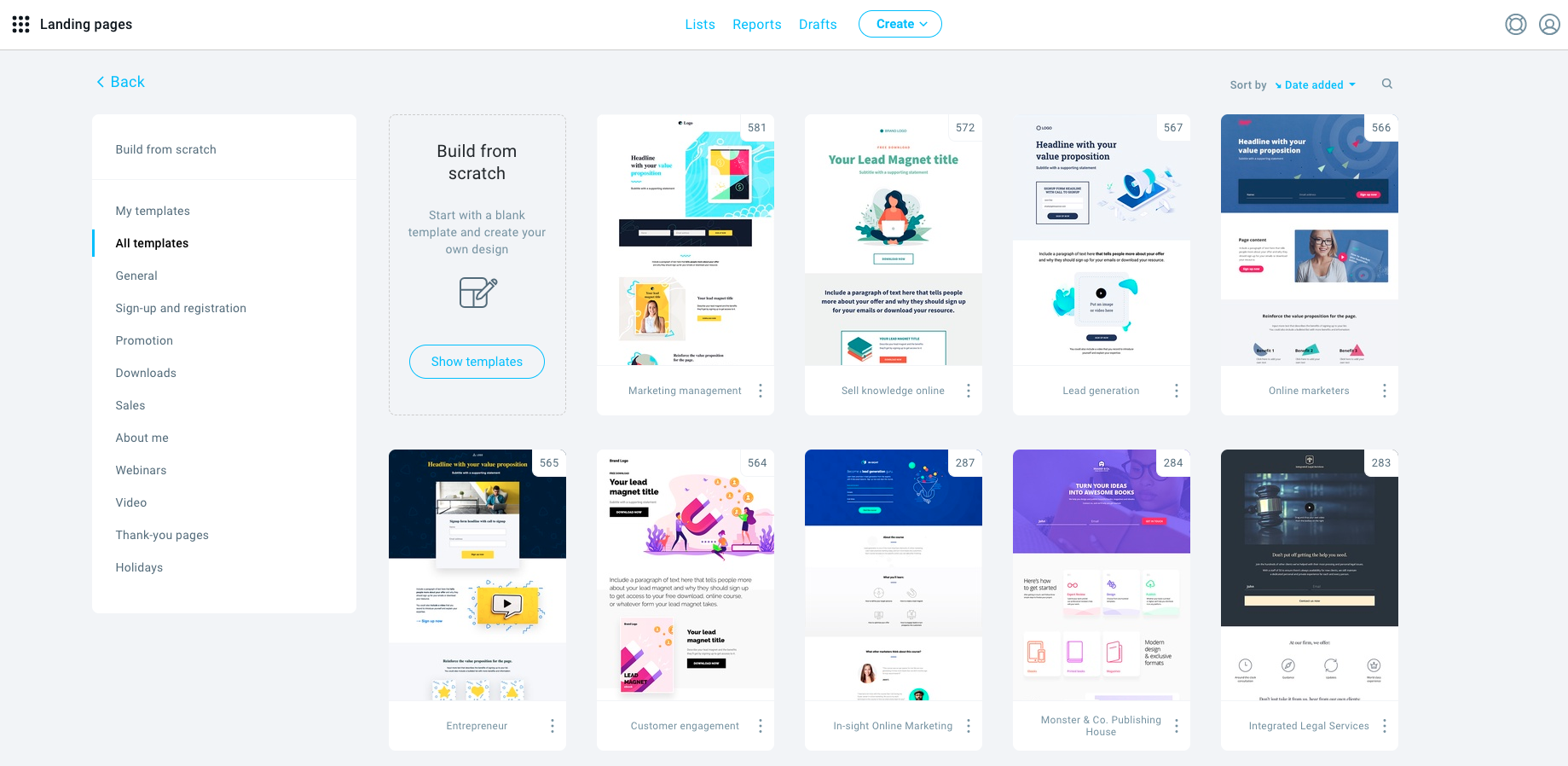 Landing Page Templates.