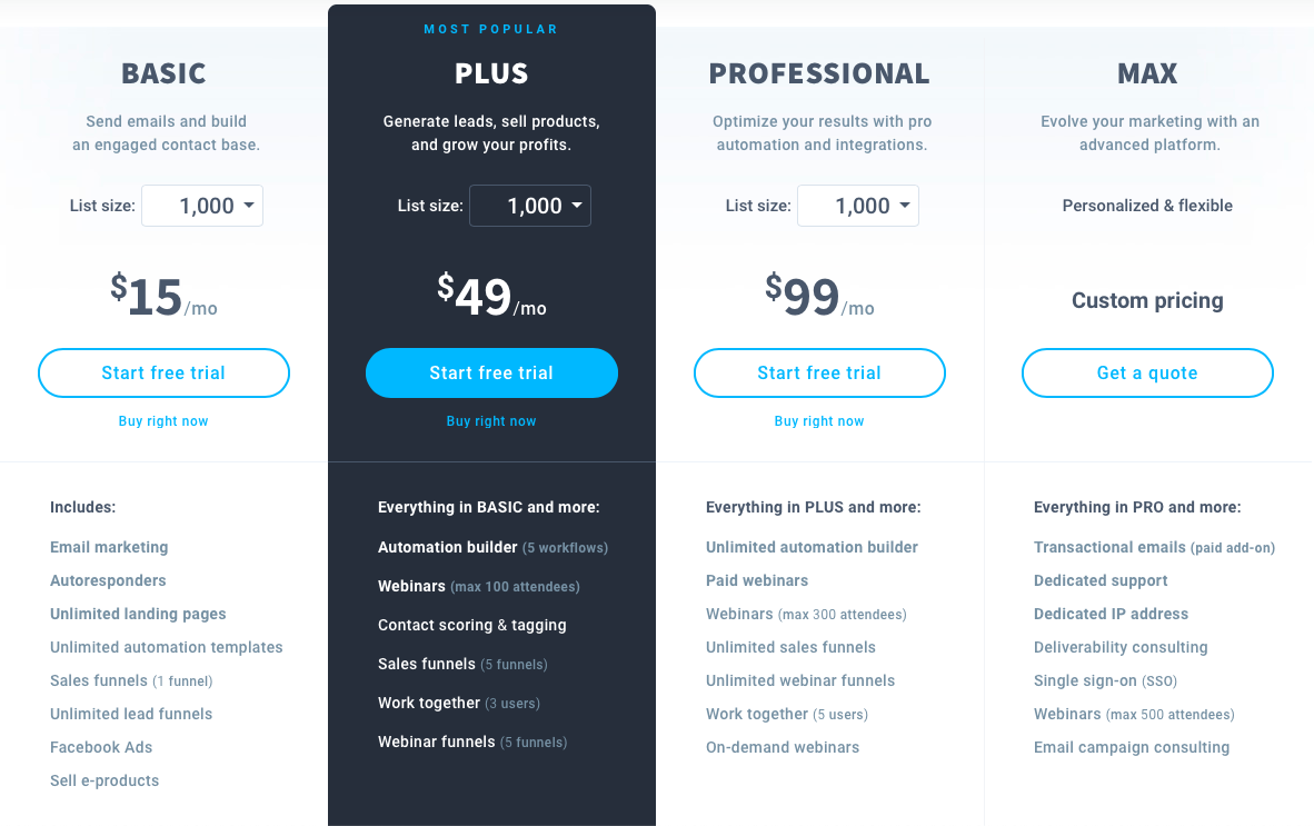GetResponse Pricing plans.