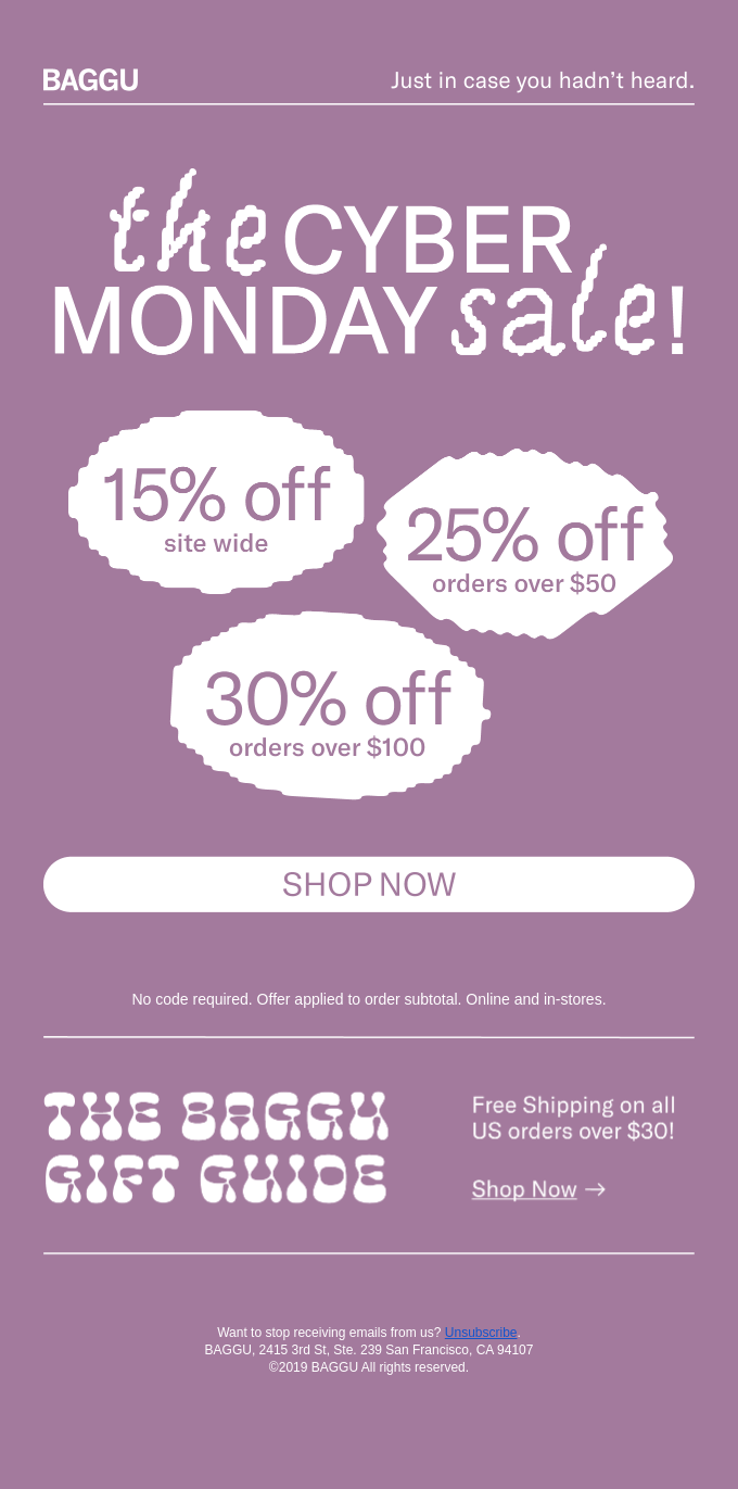 An example of a Cyber Monday email from Baggu.