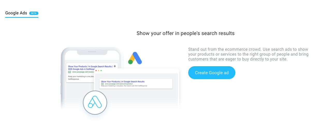 создание Google рекламы в GetResponse