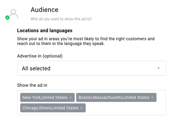как выбрать местоположение и язык целевой аудитории в рекламе Гугл