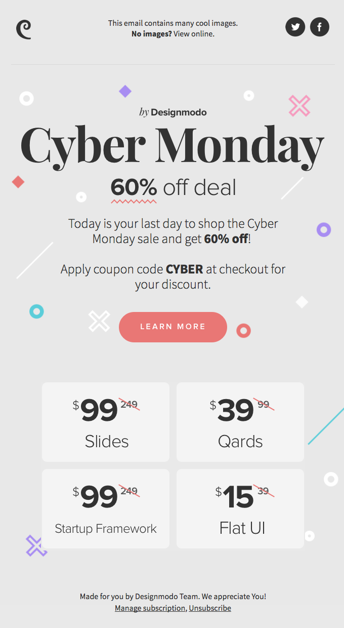 A great Cyber Monday email example from Design Modo.